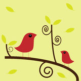 Birds in tree. Two cute little birds on a tree branch with falling leaves, vector Stock Photos