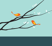 Birds on Tree. Vector illustration of a bird couple on branches Stock Photo