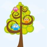 Birds and tree. Cute birds and tree cartoon over sky background. vector Stock Photos
