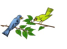 Birds in tree. Illustration for animal works Royalty Free Stock Photography
