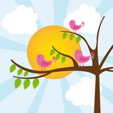 Birds with tree. Over vector illustration. vector illustration Royalty Free Stock Photos