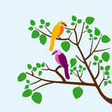 Birds on tree. Illustration of birds on the tree with green leaves Vector Illustration