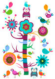 Birds tree. Colorful birds tree in bloom royalty free illustration