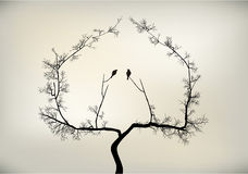 Birds and tree. 2 birds on tree falling in love Stock Illustration