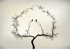 Birds and tree. 2 birds on tree falling in love stock illustration