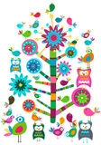 Birds and tree. Whimsy birds and tree colorful design Vector Illustration