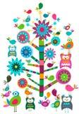 Birds and tree vector illustration
