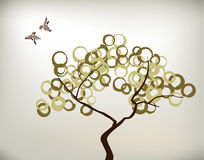 Birds and tree. Ink circles leaves Royalty Free Stock Photo