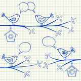 Birds on a tree drawing Stock Images