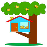Birds tree house Stock Photography