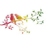 Birds at tree silhouettes. Silhouettes of birds at tree, hand drawn songbirds at branch, Valentine symbol, a pair of lovers, color nature background Royalty Free Stock Photos