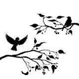 Birds at tree silhouettes royalty free illustration