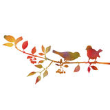 Birds at tree silhouettes. Watercolor silhouettes of birds at tree, hand drawn songbirds at branch, Valentine symbol, a pair of lovers, color nature background Royalty Free Stock Images