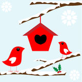 Birds in tree with snow for Christmas. Two pretty red birds with house in tree branches covered with snow for christmas card concept, vector Royalty Free Stock Photo
