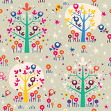 Birds in the trees cartoon nature forest retro seamless pattern Stock Photos