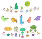 Birds, trees and flowers Royalty Free Stock Photos