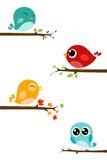 Birds on trees. Illustration Of Birds on trees in white background stock illustration