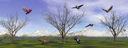 Birds and trees and mountain Stock Image