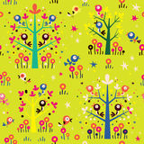 Birds in the trees nature forest seamless pattern Stock Photos