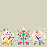 Birds in the trees nature illustration background design element. Birds in the trees nature illustration royalty free illustration