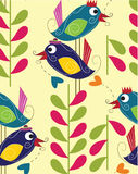 Birds trees Pattern Seamless Stock Photos