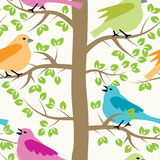 Birds and trees, vector. Seamless repeating pattern with birds and trees, vector Royalty Free Stock Photography