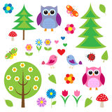 Birds,tress and owls Stock Image