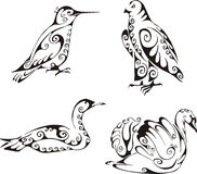 Birds in tribal style Royalty Free Stock Images