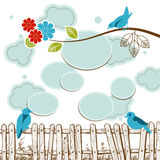 Birds tweeting. Social media concept with clouds speech bubbles Royalty Free Stock Photos