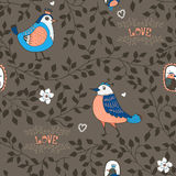 Birds and twigs background Stock Photos
