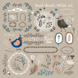 Birds, twigs and flowers Royalty Free Stock Photos