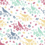 Birds and twigs seamless pattern Royalty Free Stock Photography