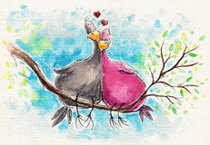 Birds. Two birds in love sitting on a branch.Picture created with watercolors Royalty Free Stock Image