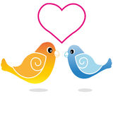 Birds. Two birds in love on white background Stock Image