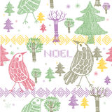 Birds and various colorful trees print. On white background vector illustration