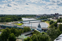 Birds view of bridges across the Volga river and city panorama of Yaroslavl Royalty Free Stock Photos