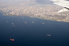 Birds view of cargo ships and Istanbul, Turkey Royalty Free Stock Photography