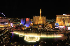 Birds view of Las Vegas Strip at night Stock Images