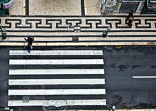 Birds view to a crosswalk in the old part of Lisbon, portugal Stock Photos