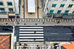 Birds view to a crosswalk in the old part of Lisbon, portugal Royalty Free Stock Images