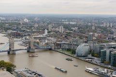 Birds view towards London's Tower Bridge Royalty Free Stock Image