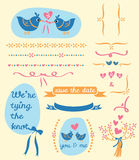 Birds wedding card. Cute elements of birds tying ribbon, flower bouquet, hearts and ribbon borders, ribbon banners Royalty Free Stock Image