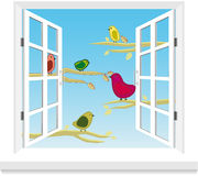 Birds in the window vector Stock Photos