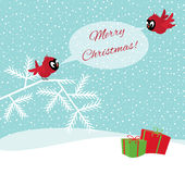 Birds in winter forest wish Merry Christmas Stock Photo