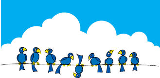 Birds on a wire #2 Royalty Free Stock Image