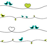 Birds on wire. Birds sitting on curve wire. Seamless pattern Royalty Free Stock Image