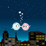 Birds on a Wire. Illustration of two birds in love on a wire Royalty Free Stock Photos