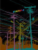 Birds on a wire. An illustration of colourful birds, sitting on electrical wires, criss-crossing each other Stock Images