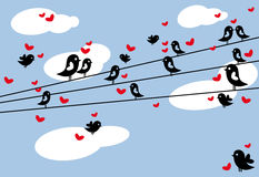Birds on wire. Birds sitting on wire, vector background Stock Image
