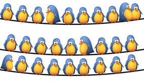 Birds on wire. Illustration of group of birds sitting on wires on white background Royalty Free Stock Images